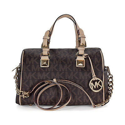 Michael Kors Grayson Medium Satchel Handbag in Brown PVC