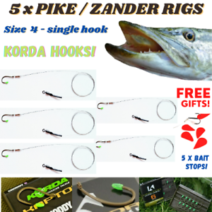 Barbed Pike Fishing Dead Bait Rig SIZE 6 5 x Wire TRACE FREE GIFTS!