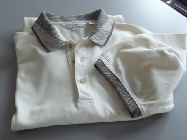 Short Sleeve Golf POLO SHIRT  LYLE & SCOTT  Lg  Half Buttonned down  Off - white