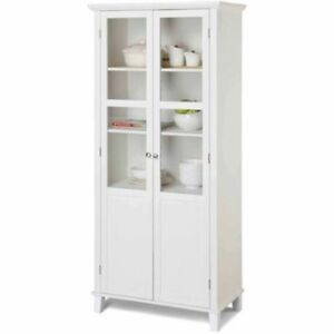 Details about Homestar Glass Front 2-Door Kitchen Display Storage Cabinet  White Finish New