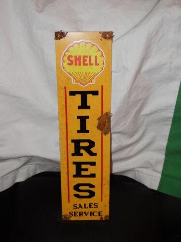 Antique style-porcelain look Shell tire sales oil dealer gas pump sign Nice