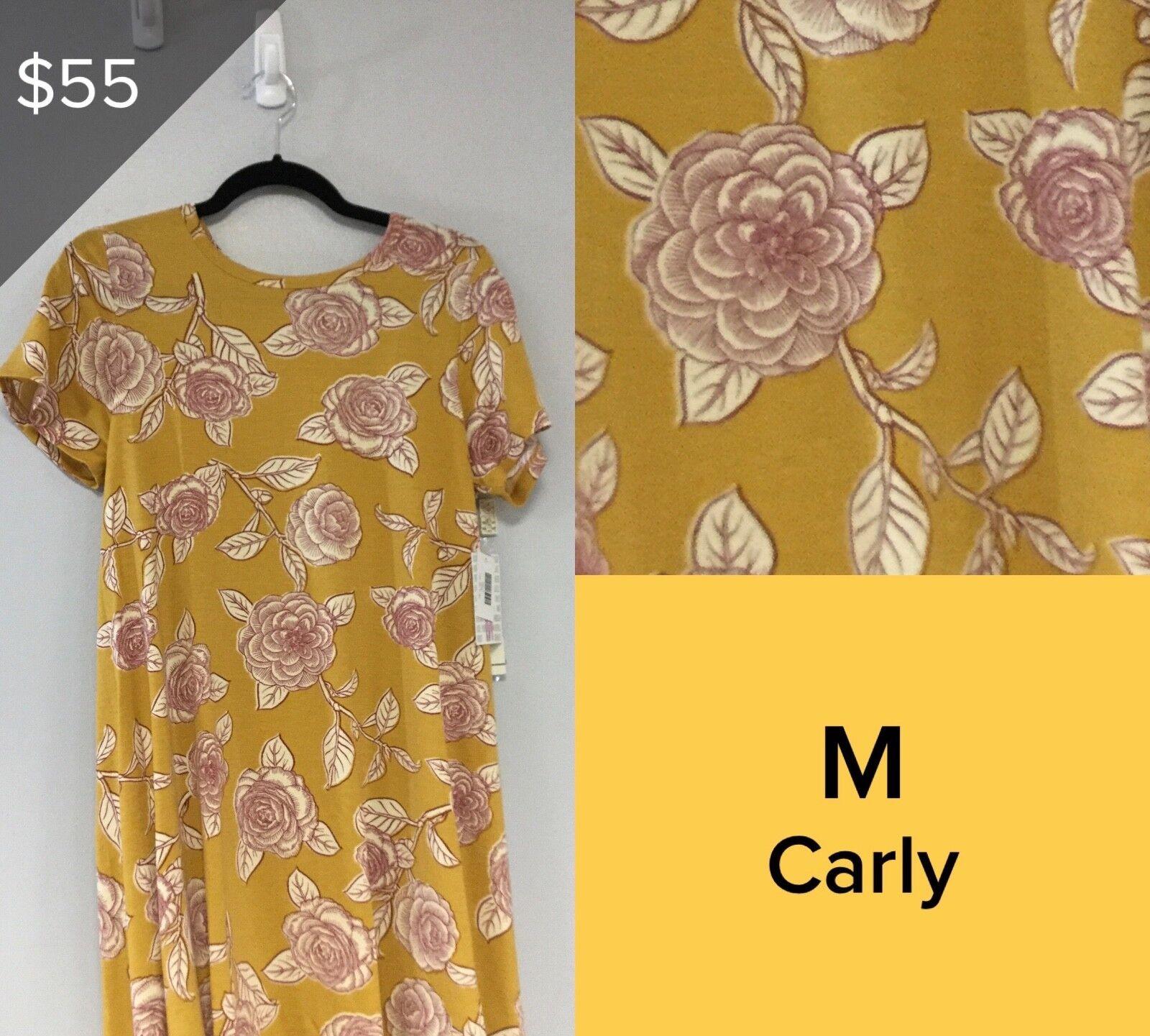 LULAROE CARLY DRESS, Größe M NWT Gelb, RosaS 5239