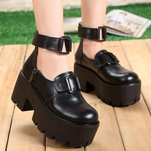 Punk Gothic Lolita Women/'s PU Leather pumps Chunky Heel Platform princess Shoes