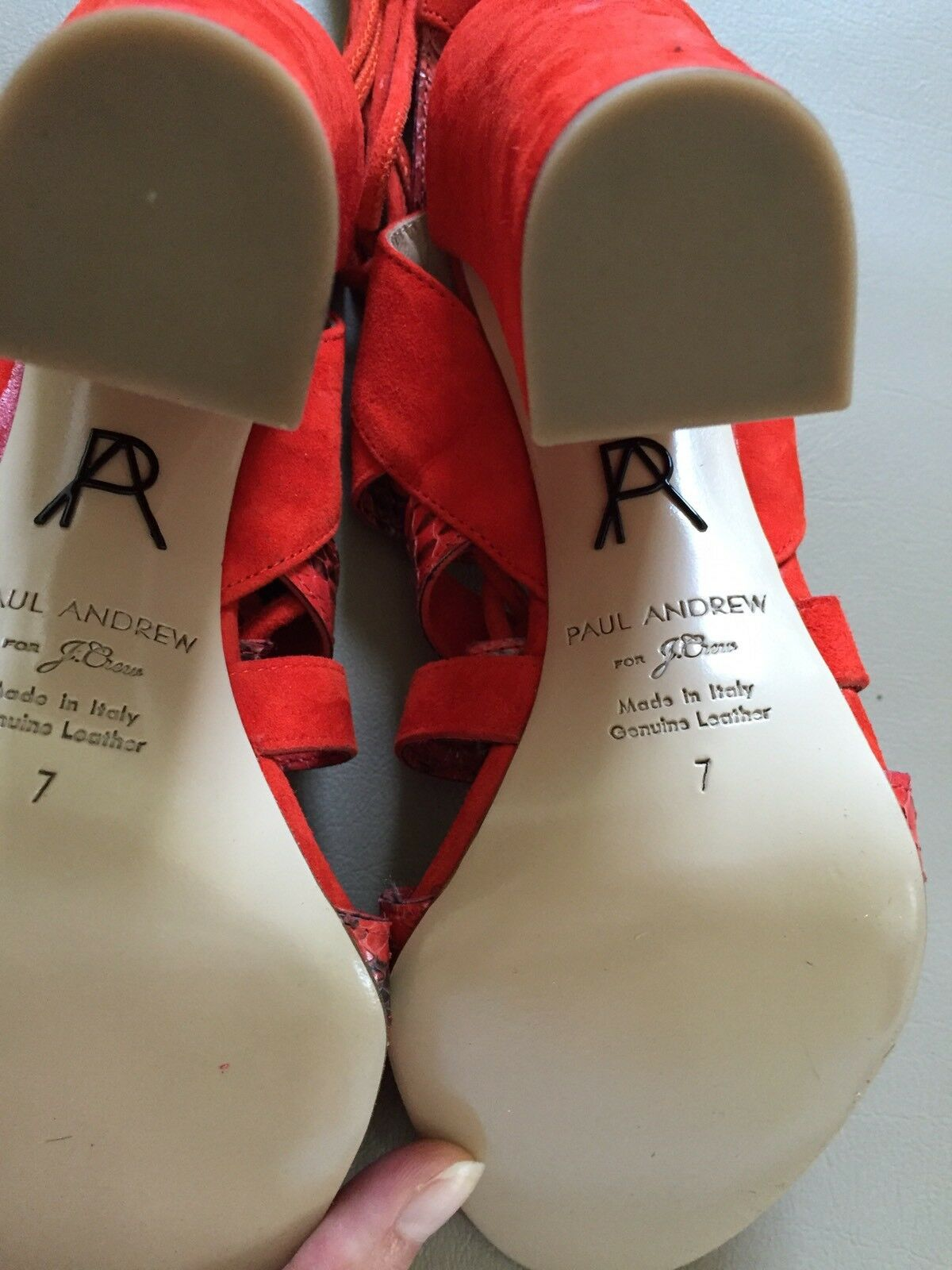 NEW NEW NEW PAUL ANDREW FOR J CREW LACE UP HIGH HEEL SANDALS SZ 7 rot LEATHER 22ac83