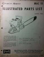 Mcculloch Mac 15 Chain Saw Parts Manual 12pg Chainsaw 1963 Gas Engine 2-stroke