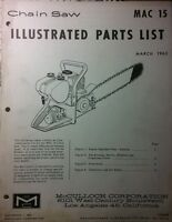 Mcculloch Mac 15 Chain Saw Parts Manual 12pg Chainsaw 1963 Gas Engine 2-stroke