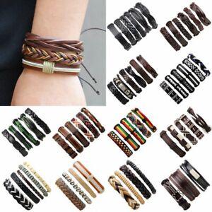 Men-039-s-Punk-Leather-Wrap-Braided-Wristband-Bracelet-Gift-Charm-Bangle-Jewelry-Set
