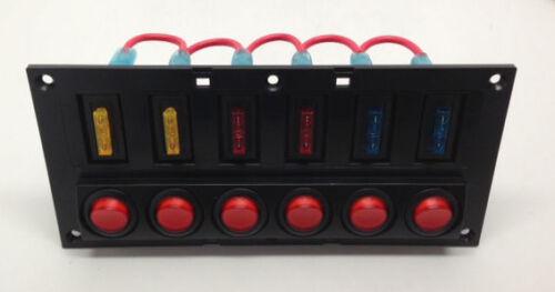 MARINE BOAT SPLASHPROOF SWITCH PANEL 6 GANG WITH LED INDICATOR ROCKER AUTO FUSES