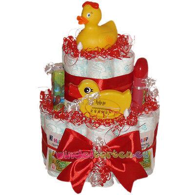 """★ Windeltorte Ente """"Mathilda""""★ Geschenk zur Geburt Taufe Babyparty Badeente"""