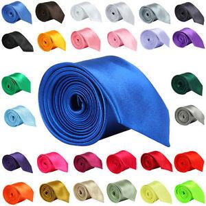 Multicolor-Mens-Slim-Skinny-Solid-Color-Plain-Satin-Tie-Necktie-High-Quality