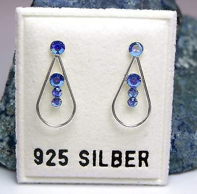 Nuovo Argento 925 Orecchini A Bottone Con Swarovski Pietre Metallizzato Blue/blu Orecchini-