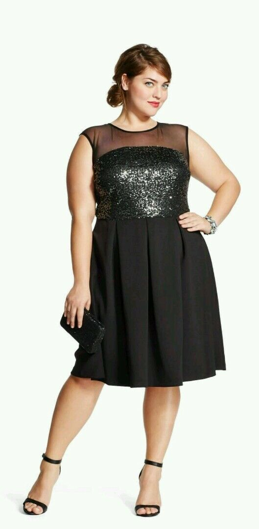 STUDIO ONE schwarz Sequin Mesh Sleeveless Social Dress damen Plus Größe 18W NWT