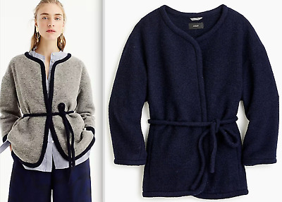 NWT $148 J.CREW Sizes XS L Wrap Jacket in Boiled Wool GRAY or NAVY Style H5856