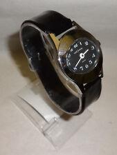 Mens Customtime Cyclops Mechanical Wind Silver Tone Watch Black Vinal Plastic