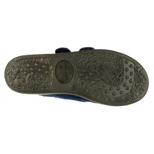GBS Med TORBAY Unisex Medical Lightweight Touch Fasten Fleece Boot Slippers Navy