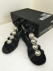 LOVE-MOSCHINO-Women-039-s-Black-Gladiator-Sandals-ITALY-37-Running-Smaller