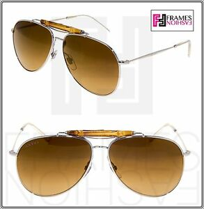 2a402f8e20229 GUCCI 2235 Silver Metal Aviator Gold Mirrored Bamboo Bar Sunglasses ...