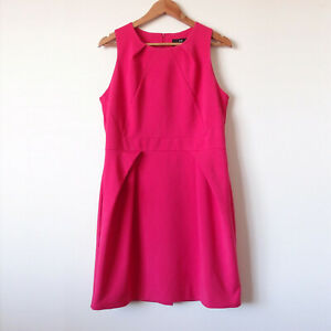 CUE-Hot-Bright-Pink-Sleeveless-Fitted-Stretch-Panel-Pleat-Pencil-Dress-Size-14-L
