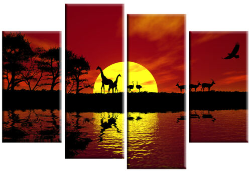 LARGE AFRICA SUNSET CANVAS PICTURE PRINT RED TONED SPLIT MULTI 4 PANEL 100cm