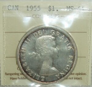 Canada-1955-Silver-Dollar-ICCS-MS-64