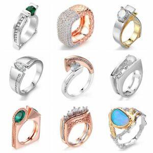 Versilbert-Einzigartige-Geometrie-Smaragd-CZ-Ring-Frauen-Hochzeit-Schmuck