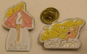 lot-of-2-BARBIE-pins-doll-vintage-pin-badge