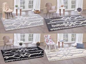 Moroccan-Shaggy-Area-Rug-Grey-White-Black-Soft-Carpet-Traditional-Berber-Designs