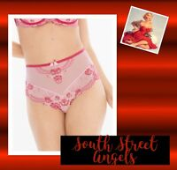 Soma Pink / Red Sheer Lacy Retro High Waisted Brief Panties Large
