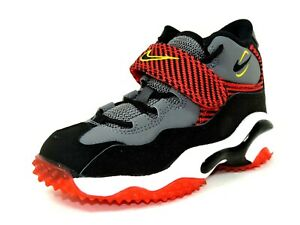 Nike-Turf-PS-643232-003-Boys-Shoes-Football-Sneakers-Leather-Black-Gray-Red