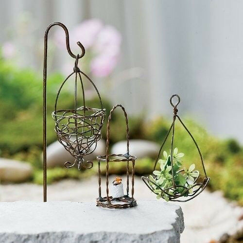 Miniature Dollhouse FAIRY GARDEN ~ Set of 3 Antiqued Wire Accessories (w/o hook)