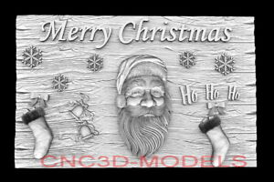 3D Model STL for CNC Router Artcam Aspire Happy New Year Santa Claus D754