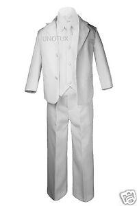 Baby Toddler Boy Wedding Party Baptism Communion Formal Tuxedo Suit White sz S-7