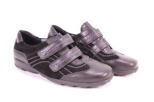 C1724-Theresia-M-Komfort-Sneaker-Halbschuhe-Leder-Gr-38-5-H-schwarz-Klett