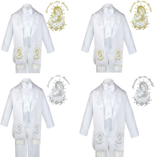 6pc Baptism White Tuxedo English Spanish Silver Gold Pope Santa Maria Mary Stole