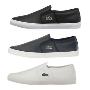 Lacoste-Gazon-BL-1-Men-039-s-Casual-Leather-Loafer-Shoes-Sneakers-Black-Blue-White