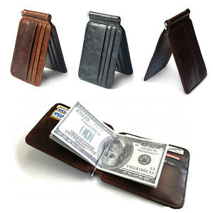 Men-039-s-Cowhide-Leather-Bifold-Slim-Wallet-ID-Credit-Card-Money-Clip-Holder-Purse