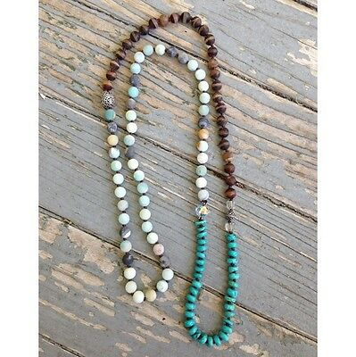 Free People MInt &TURQUOISE Semi-Precious Natural Stone NECKLACE LONG New