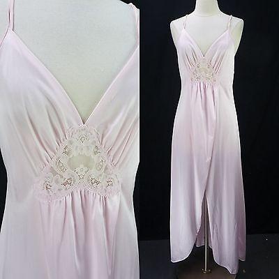 Vintage Lorraine Pink Nylon Lace Peek-a-Boo Tulip Split Slit Long Nightgown M