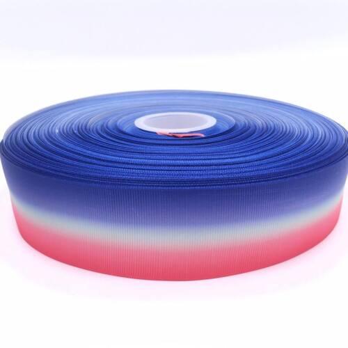 "Hot Pink Blue White Ombre 1.5/""  38mm Grosgrain Ribbon per meter"