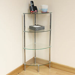 Tier Clear Glass Corner Side End Table Shelf Display