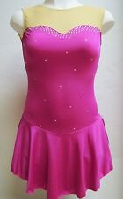 COMPETITION ICE FIGURE SKATING DRESS Pink Sweetheart Crystals Adult Large L NWT