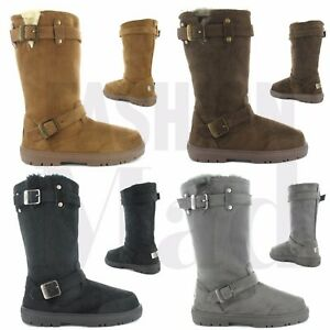 57d7e9b1d Ladies ELLA Faux Suede Fur Lined Tall Warm Winter Buckle Biker Snow ...