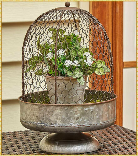 Large Rustic Chicken Wire Cloche Farmhouse Centerpiece Galvanized Display Stand