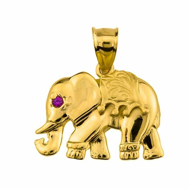 10k Yellow gold Elephant Pendant with Simulated Amethyst Gemstone (Made in USA)