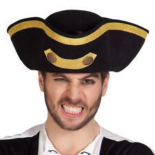 Admiral Tricorn Pirate Black & Gold Hat Gold Braid Trim Royal Navy Fancy Dress