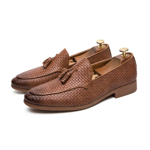 Details about  /Mens Round Toe Slip On Leather Pumps Leisure Party Wedding Tassels Shoes Comfort