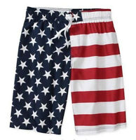 American Flag Usa Patriotic Beach Swim Surf Olympic Shorts Size S M L Xl