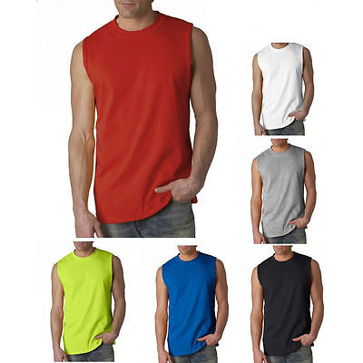 NEW Men's Tank Top sleeveless T Shirts Plain  Muscle Gym Tee A-Shirt 100% Cotton