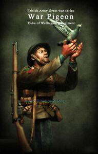 1-10-Soldier-With-Battle-pigeon-Figure-Bust-Model-Unpainted-Garage-Kits-Statue