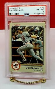 1983 Fleer Cal Ripken Jr. Card #70 PSA 8, 2007 HOF, Iron Man, Baltimore Orioles